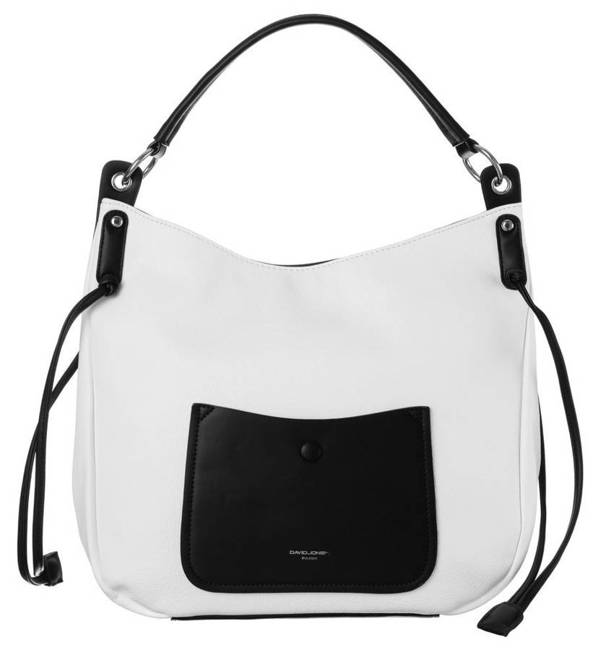 Shopper damski biało-czarny  David Jones CM6073 WHITE