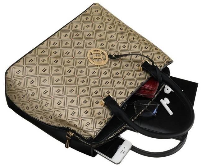 Shopper damski złoto-czarny Monnari BAG1830-M23