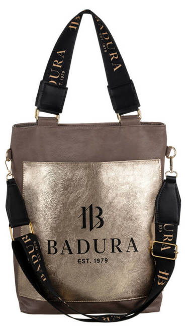 Shopperka beżowa, złota kieszeń Badura T_D134BE_CD