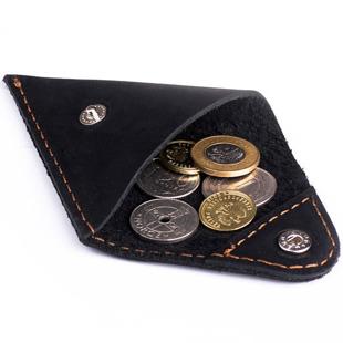 Skórzana bilonówka coin wallet BRODRENE CW01 czarna