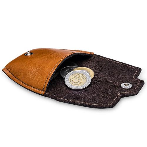 Skórzana bilonówka, portfel na monety camel Solier SA10
