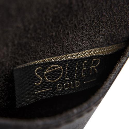 Skórzana bilonówka, portfel na monety ciemnobrązowy Solier SA10