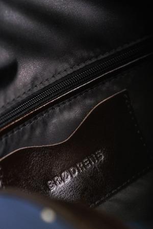 Skórzana i materiałowa torba męska na ramię BRODRENE ML15 granatowa