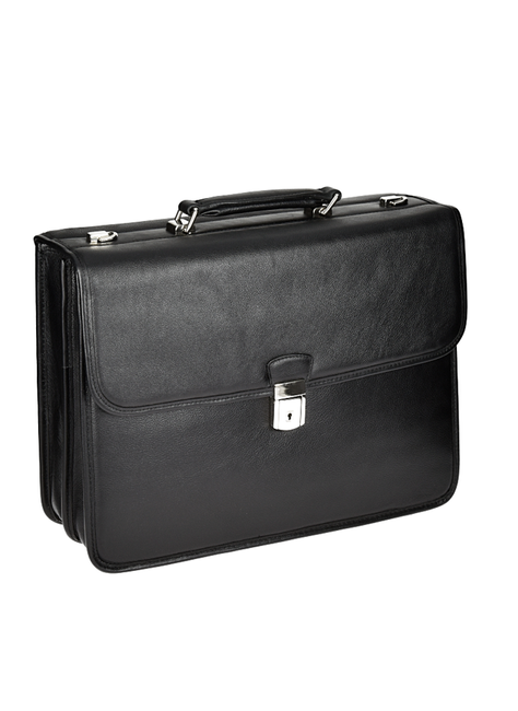 """Skórzana teczka biznesowa Mcklein Ashburn 15145 na laptopa 15,4"""" męska czarna"""