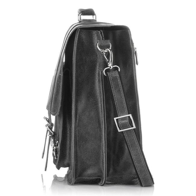Skórzana teczka torba męska vintage szara PAOLO PERUZZI GA318