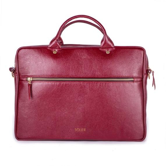 Skórzana torba aktówka damska na laptopa FELICE bordowa