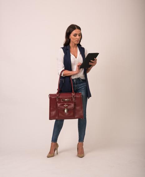 """Skórzana torba damska na laptopa 15,4"""" Mcklein River Forest 96506 czerwona"""