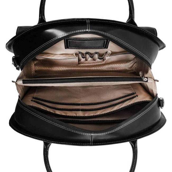 """Skórzana torba damska na laptopa 15,4"""" z odpinanym wózkiem Mcklein Glen Ellyn 94365 czarna"""