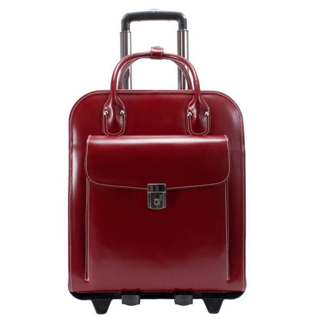 """Skórzana torba damska na laptopa 15,6"""" z odpinanym wózkiem Mcklein La Grange czerwona"""