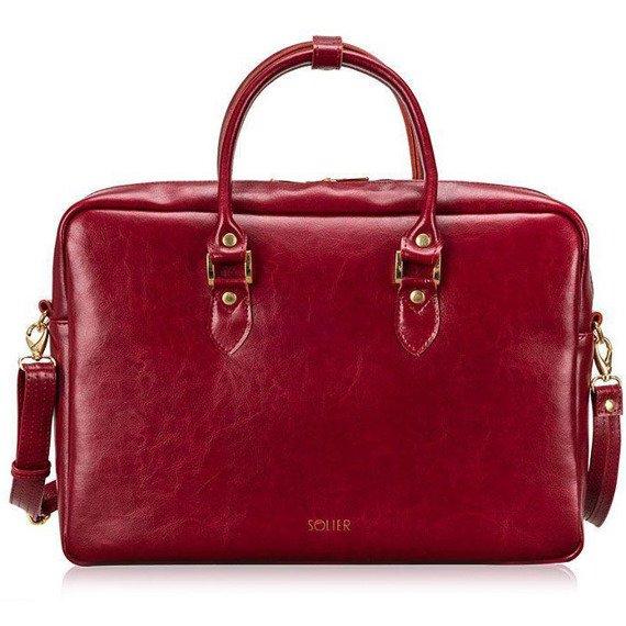Skórzana torba damska na laptopa Solier FG05 czerwona