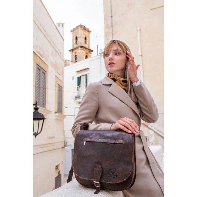 Skórzana torba listonoszka damska vintage PAOLO PERUZZI GA300 czarna