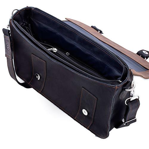 Skórzana torba męska BRODRENE BL11 ciemnobrązowo-czarna