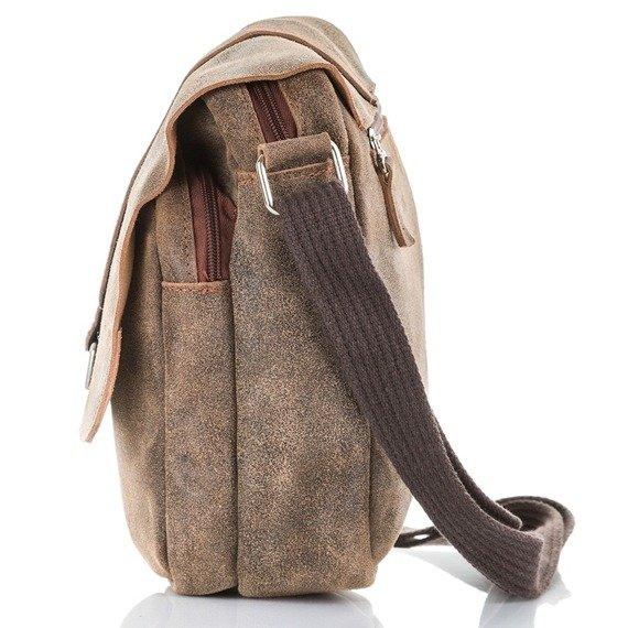Skórzana torba męska listonoszka Paolo Peruzzi Adventure GA131 szara