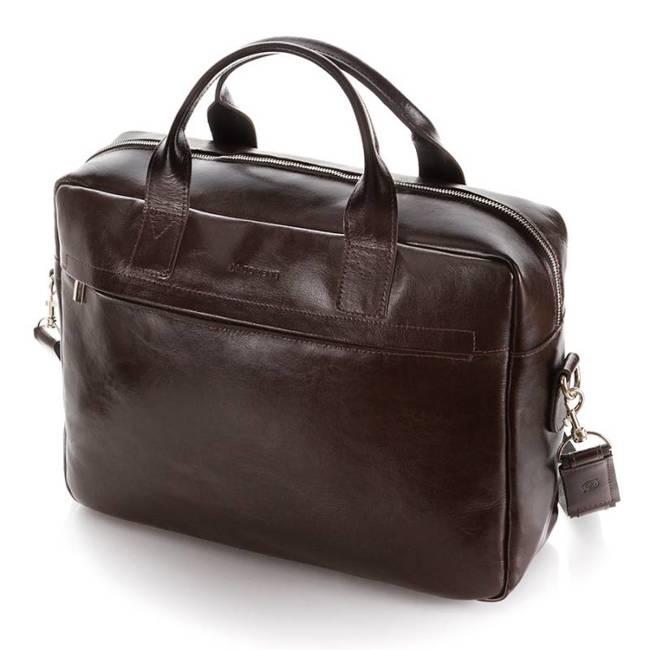 Skórzana torba męska na laptopa 17' BRODRENE R03XL ciemnobrązowa