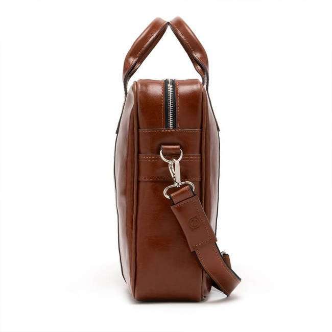Skórzana torba męska na laptopa BRODRENE R01 jasnobrązowa