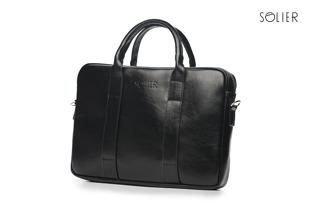 Skórzana torba męska na laptopa Solier czarna