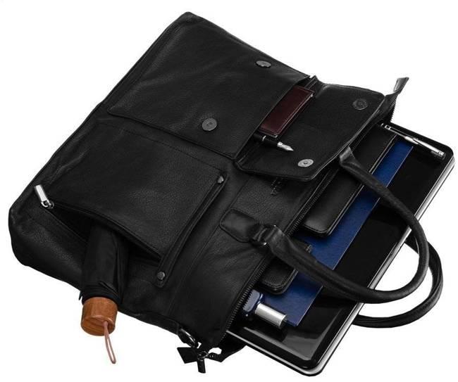 Skórzana torba męska na laptopa czarna Badura B-LAP-15601-NDM-6529