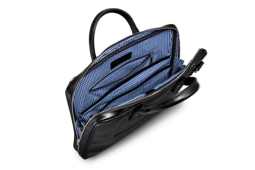 Skórzana torba męska na laptopa czarna SOLIER