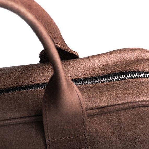 Skórzana torba męska na ramię BRODRENE BL01 jasnobrazowa