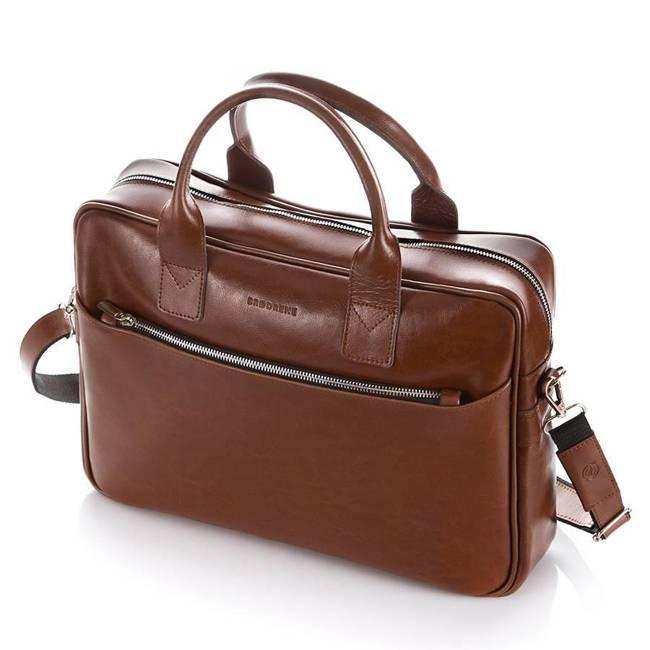 Skórzana torba męska na ramię, laptop Brodrene R12 jasny brąz