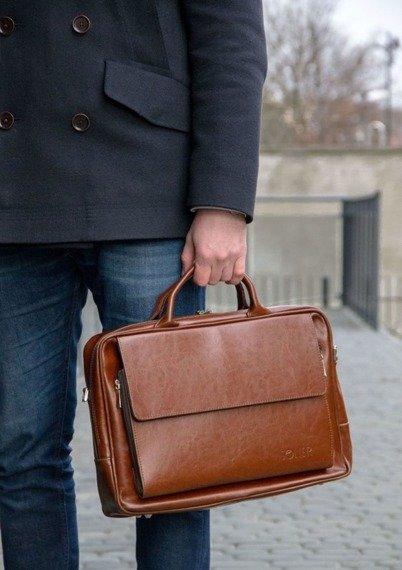 Skórzana torba męska na ramię, torba na laptop SOLIER brązowy vintage