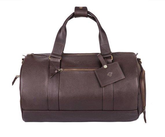 Skórzana torba męska weekendowa SOLIER SL19 Brandon ciemny brąz