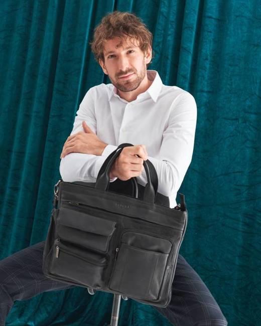 Skórzana torba na laptopa czarna Badura B-LAP-15604-NDM-6550