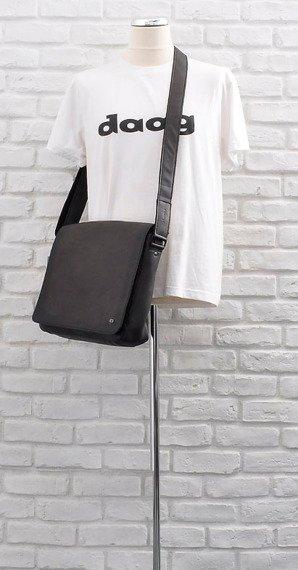 Skórzana torba na ramię unisex Daag Shaker 27 czarna