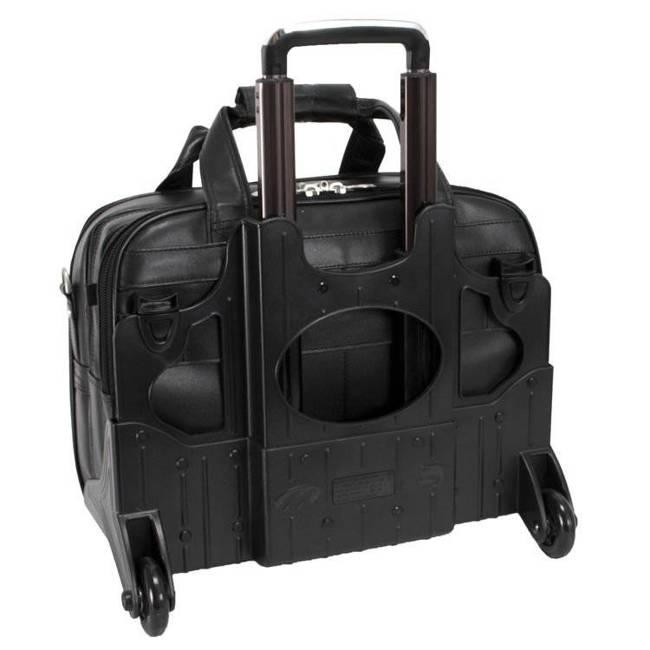 """Skórzana torba podróżna na laptopa 17"""" z odpinanym wózkiem teczka 3w1 Mcklein Chicago 83585"""