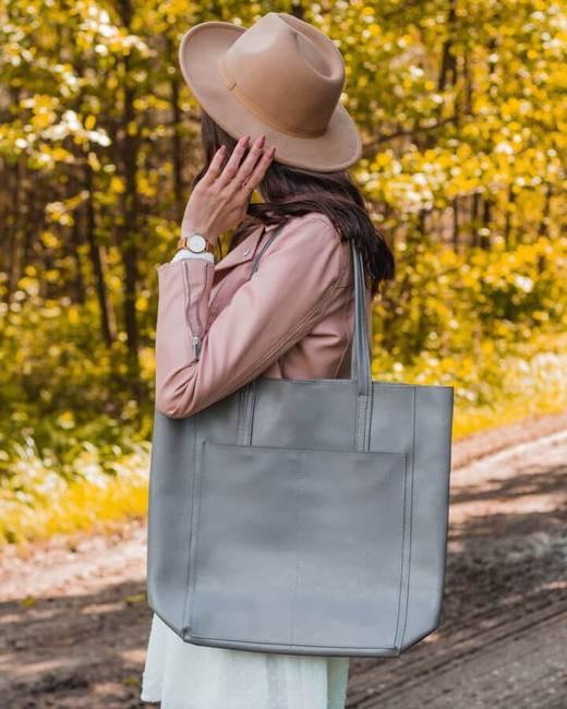 Skórzana torebka damska DAN-A T376 szara