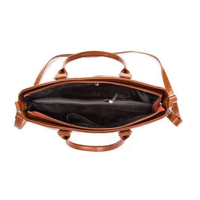 Skórzana torebka damska łódka czarna PAOLO PERUZZI 101-PP