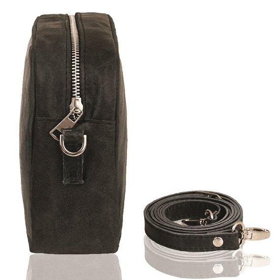 Skórzana torebka listonoszka damska Brodrene Lund BL102 czarna
