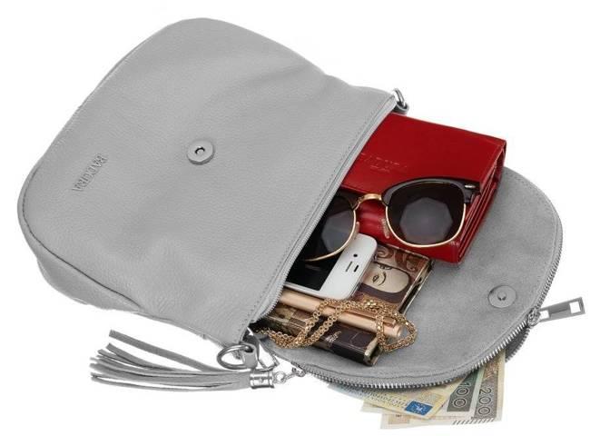 Skórzana torebka listonoszka szara Badura T_D217SZ_CD