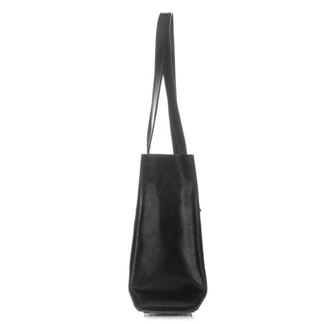 Skórzana torebka shopper bag 2w1 Paolo Peruzzi Z-26-BL czarna