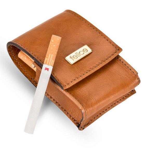 Skórzane damskie etui na papierosy Felice FA14 standard jasnobrązowe