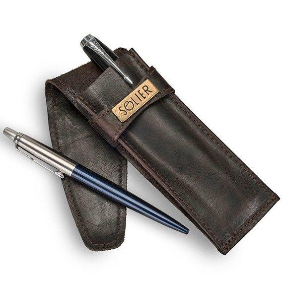 Skórzane etui na długopisy, pióro SOLIER SA12 ciemnobrązowe