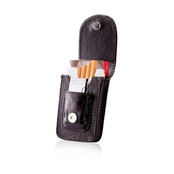 Skórzane etui na papierosy i zapalniczkę SA19 ciemnobrązowe