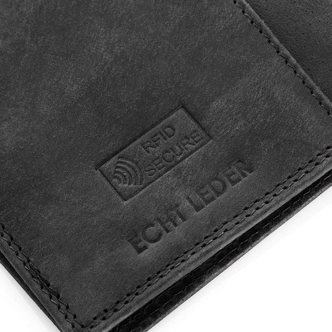 Skórzane etui na paszport RFID Arbuzzo czarne PH-01
