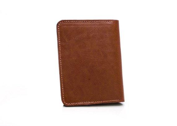 Skórzany Cienki portfel męski z bilonówką SOLIER SW15A SLIM brąz