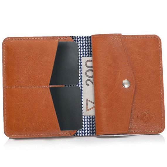 Skórzany Cienki portfel męski z bilonówką SOLIER SW15A SLIM jasny brąz