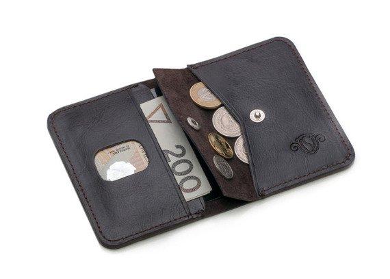 Skórzany cienki portfel męski z bilonówką SOLIER SW16A SLIM ciemny brąz