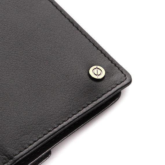 Skórzany cienki portfel męski z ochroną RFID Brodrene 5575 czarny