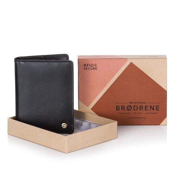 Skórzany cienki portfel męski z ochroną RFID Brodrene 5576 czarny