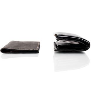 Skórzany cienki portfel slim wallet BRODRENE SW01 czarny