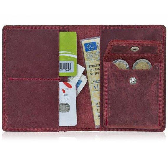 Skórzany cienki portfel slim wallet z bilonówką BRODRENE SW01+ czerwony