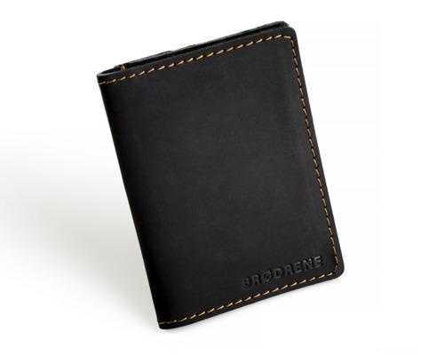 Skórzany cienki portfel slim wallet z bilonówką BRODRENE SW04 czarny