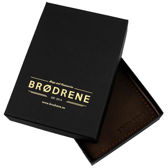 Skórzany cienki portfel slim wallet z bilonówką BRODRENE SW04 czerwony