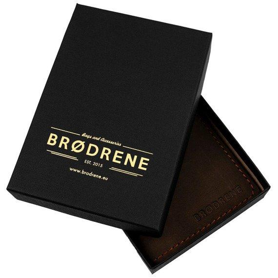 Skórzany cienki portfel slim wallet z miejscem na monety BRODRENE SW08 czarny