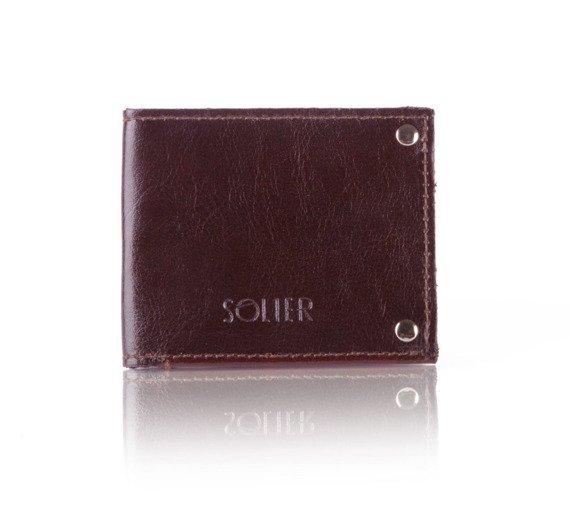 Skórzany cienki portfel wizytownik SOLIER SW21 ciemnobrązowy