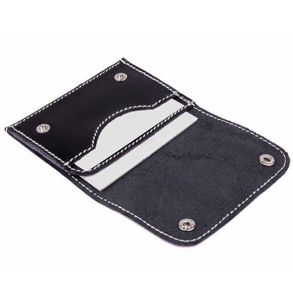 Skórzany cienki portfel wizytownik Solier SW18 czarny vintage